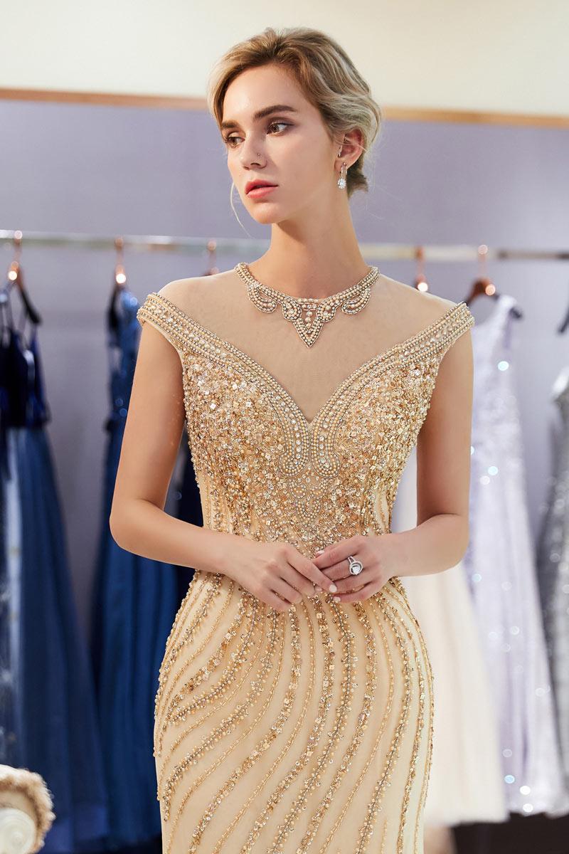 robe de soirée sirène doré champagne col illusion embelli de bijoux