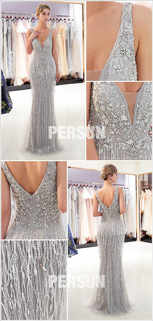 magnifique robe de soirée 2021 sequins argenté
