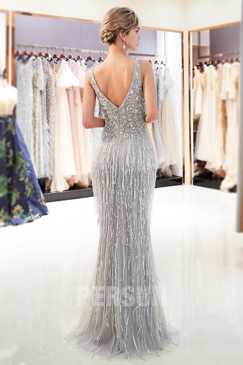 robe de soirée argenté longue brodé de bijoux à dos nu