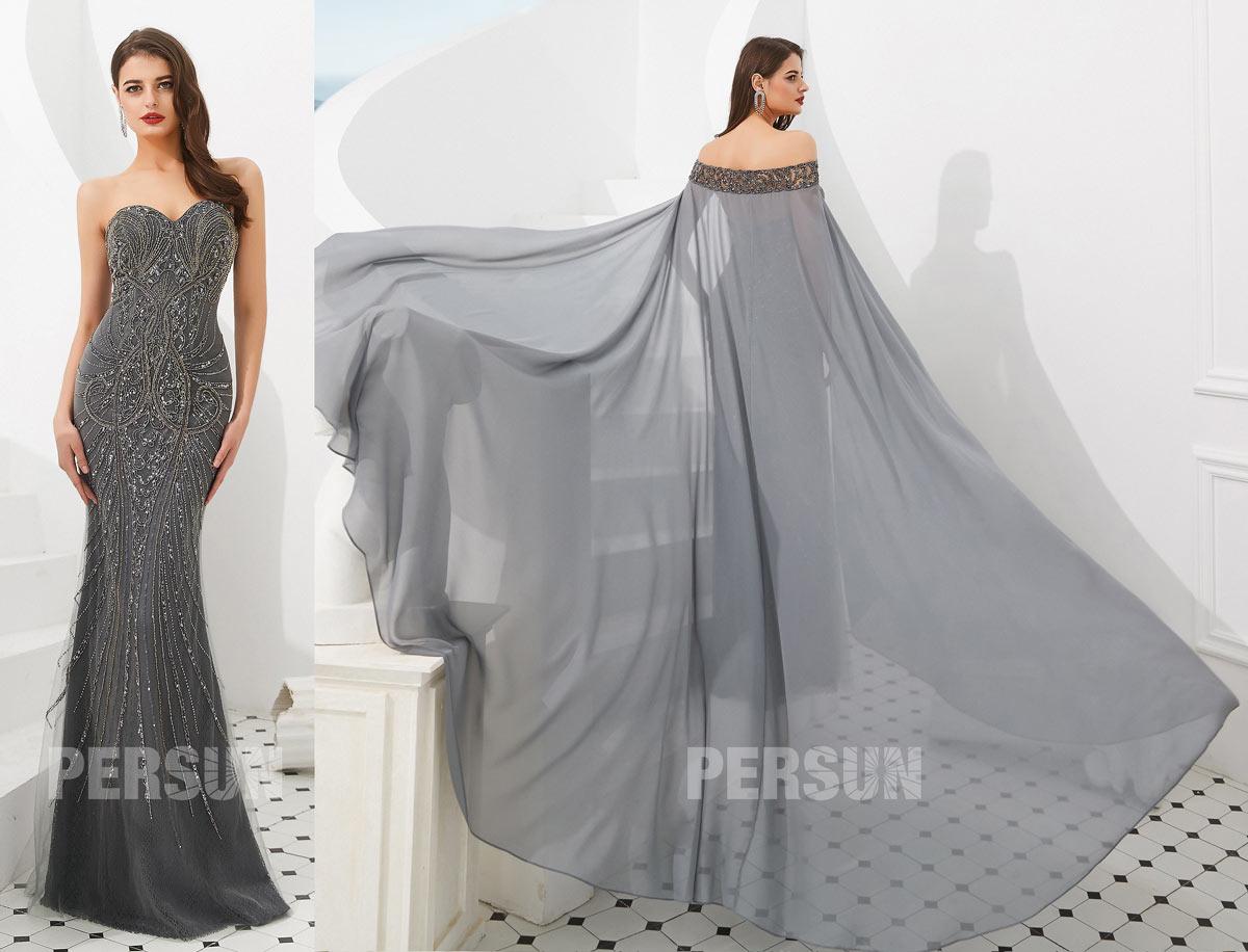 robe de cérémonie bustier coeur gris foncé avec cape brodé