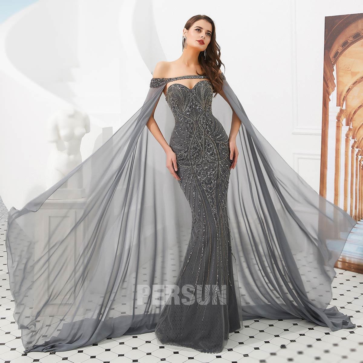 robe de soirée gris foncé longue sirène 2020