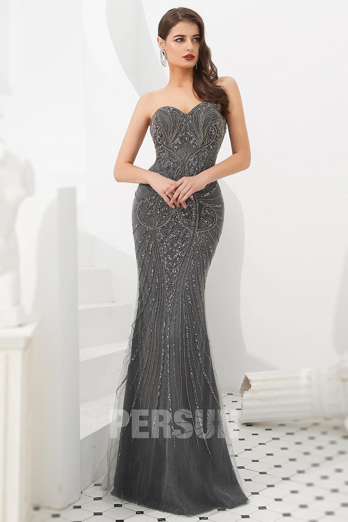 robe de soirée sirène grise 2020 bustier coeur ornée de bijoux