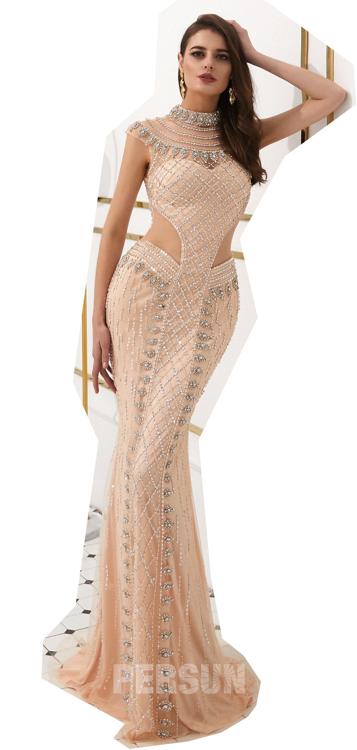 robe de soirée champagne brodée 2020 Persun