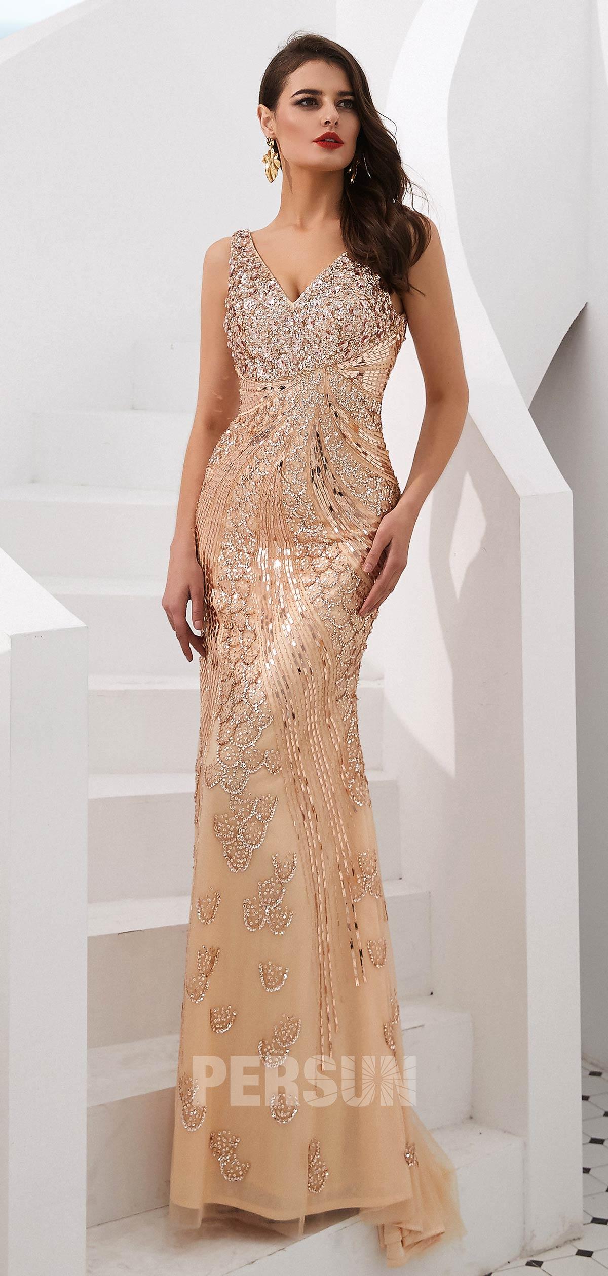 robe dorée sirène habillée pour élection miss
