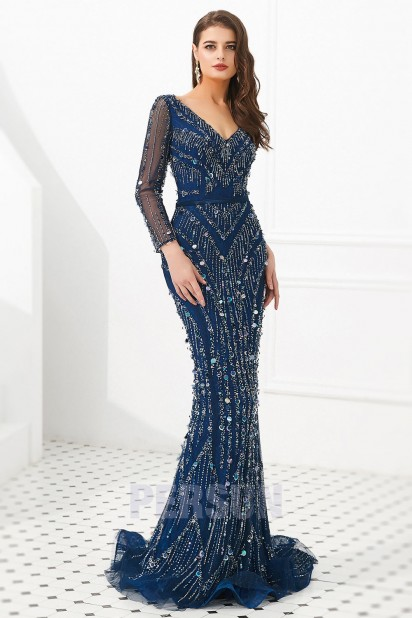 Robe de soirée sirène splendide bleu marine manche longue 2020