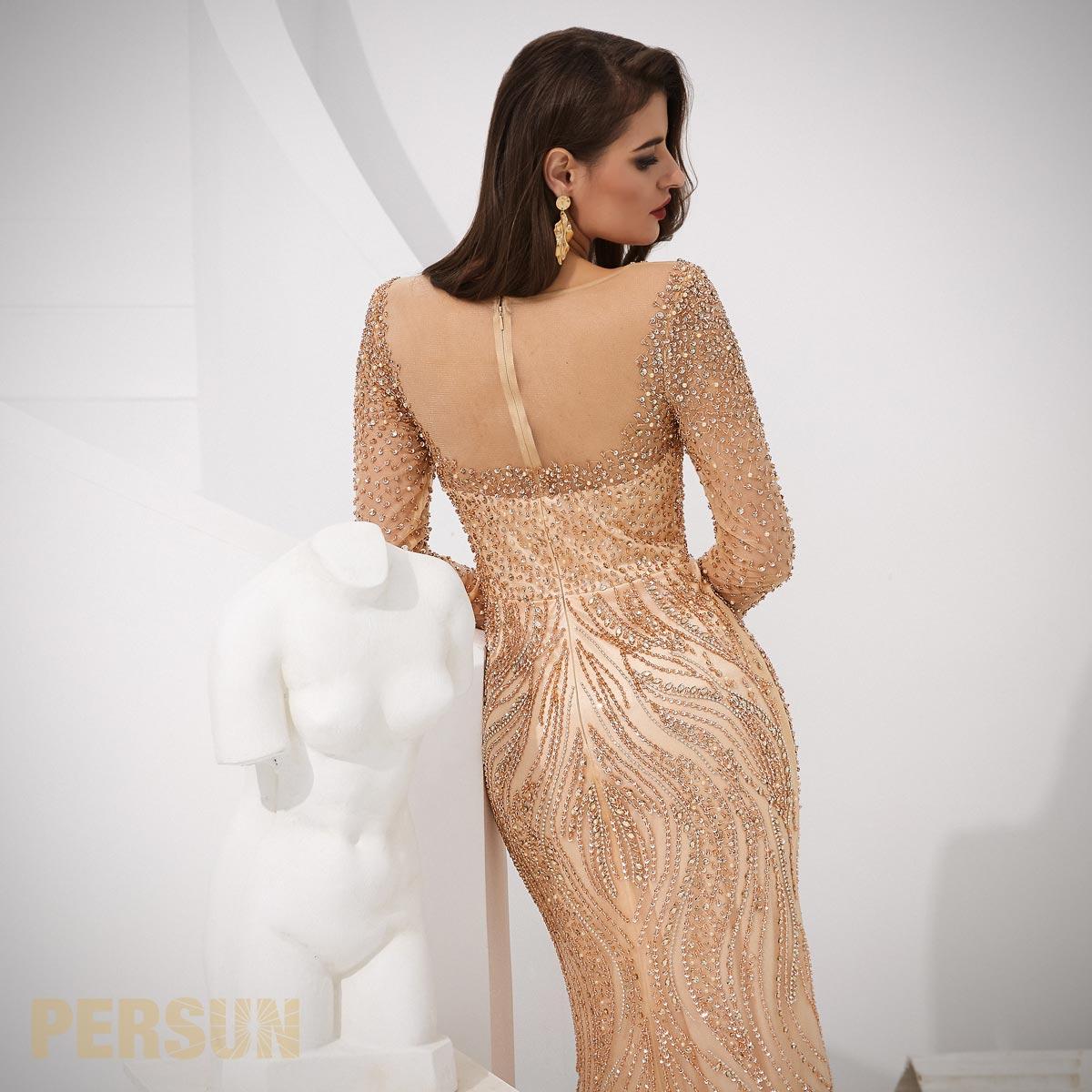 robe sirène cérémonie dorée champagne ornée de strass dos avec jeu de transparence
