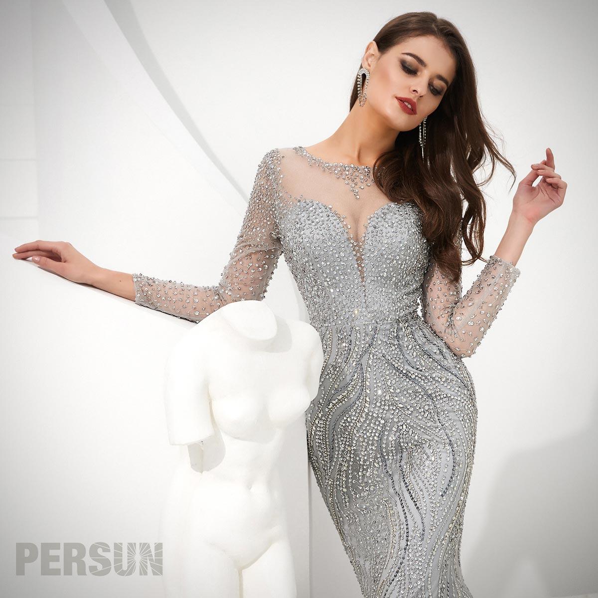 robe de soirée 2020 sirène argenté travaillé de bijoux avec manche transparent