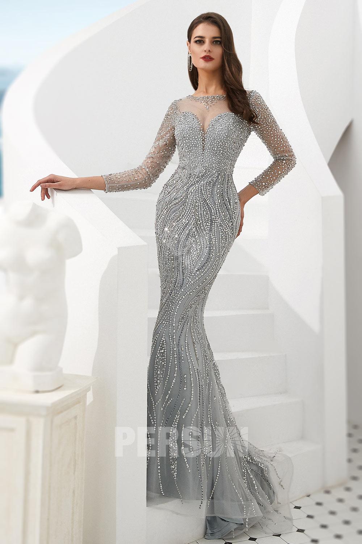 robe de soirée 2020 sirène argenté col illusion embelli de strass à manche mi-longue