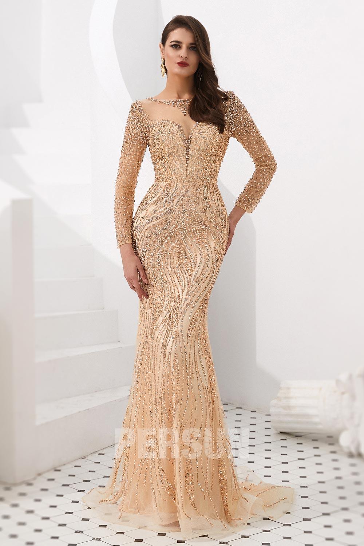 robe de soirée 2020 sirène dorée col illusion manche longue ornée de strass