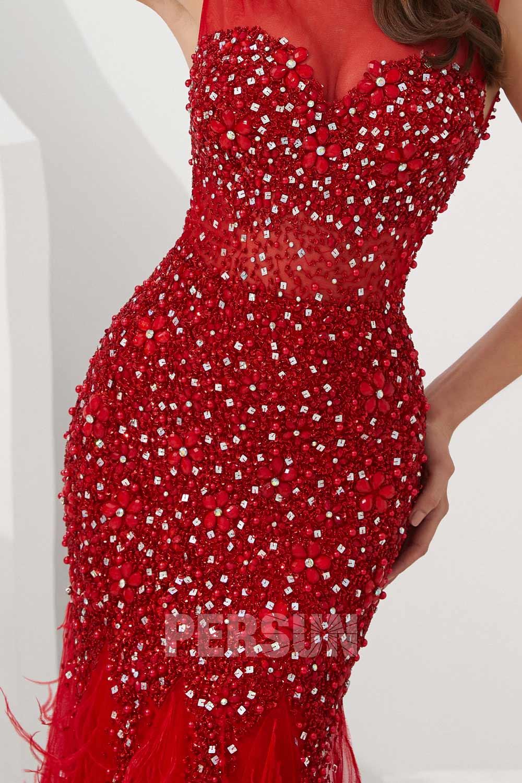 Robe de soirée sirène 2020 haut de gamme travaillé de bijoux jupe en plumes