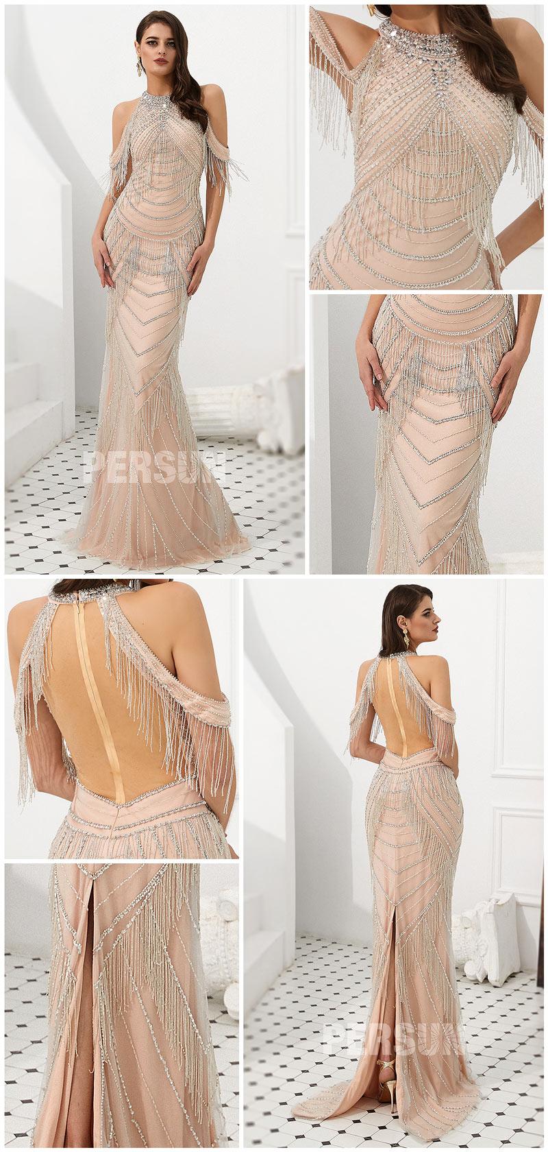 robe soirée 2020 sirène champagne épaule dégagé parsemé de bijoux et franges avec fente arrière