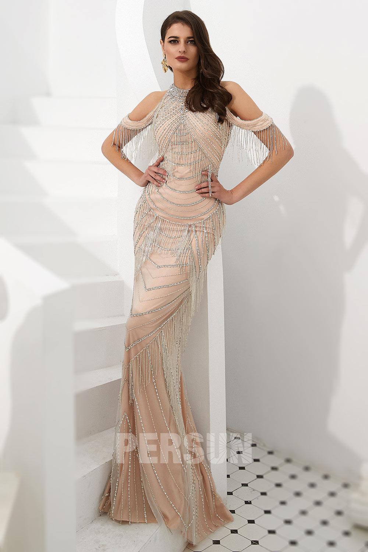robe de soirée 2020 sirène champagne épaule dénudée dos transparent