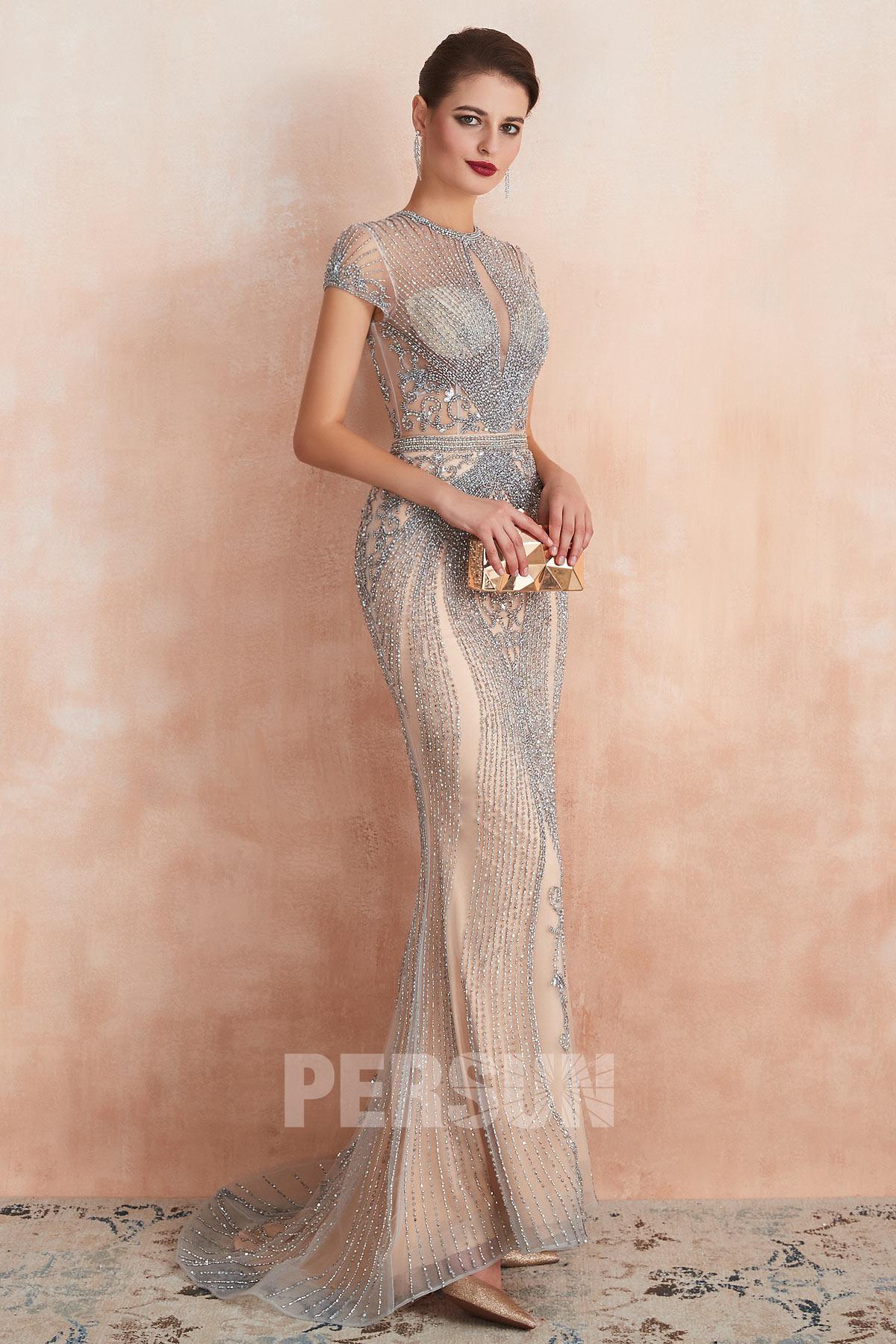 robe de soirée longue sexy sirène champagne en paillettes exquis avec manche courte
