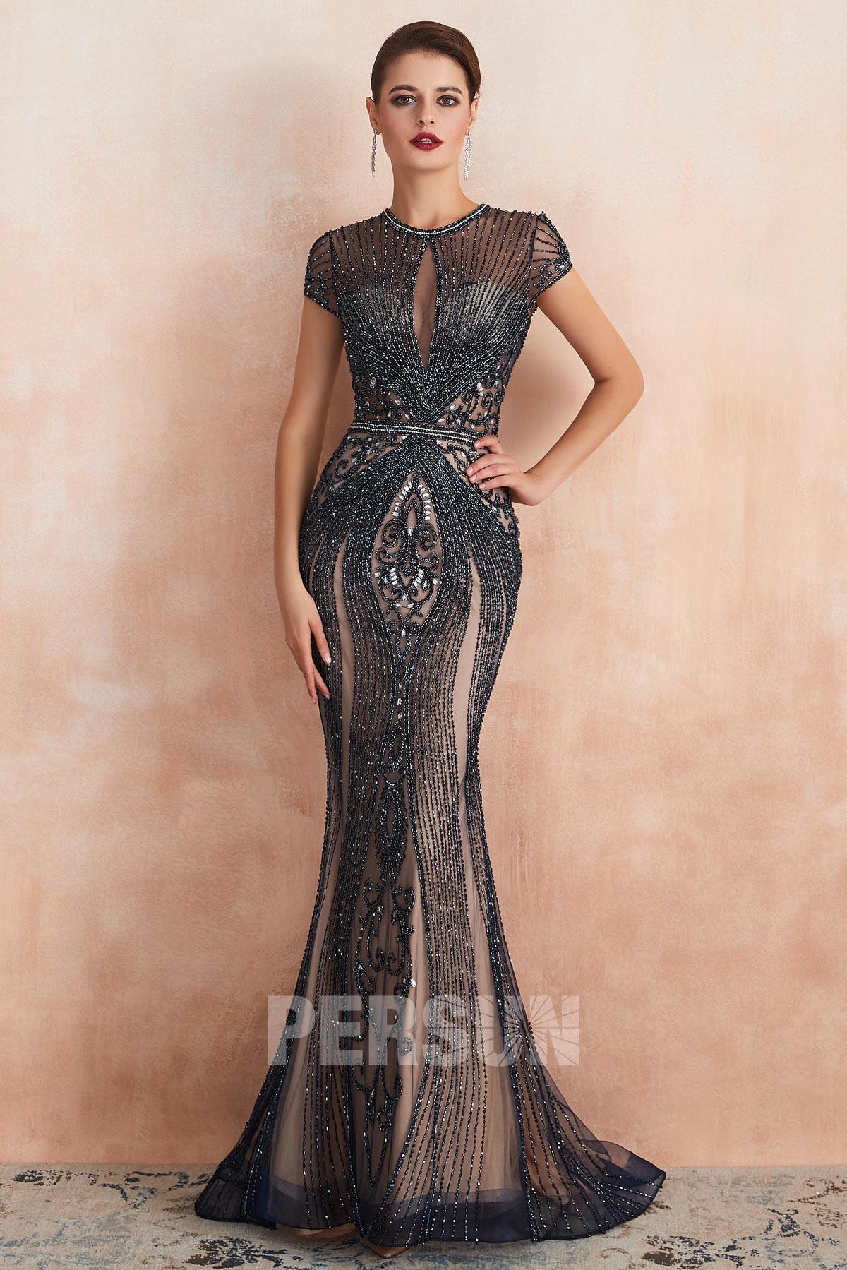 robe de soirée sirène luxe longue sexy en bijoux exquis avec manche courte