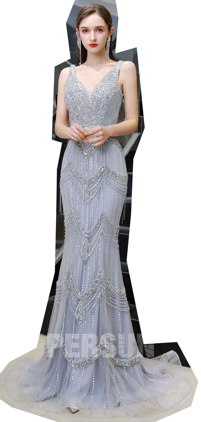 robe de luxe sirène lavande pour soirée