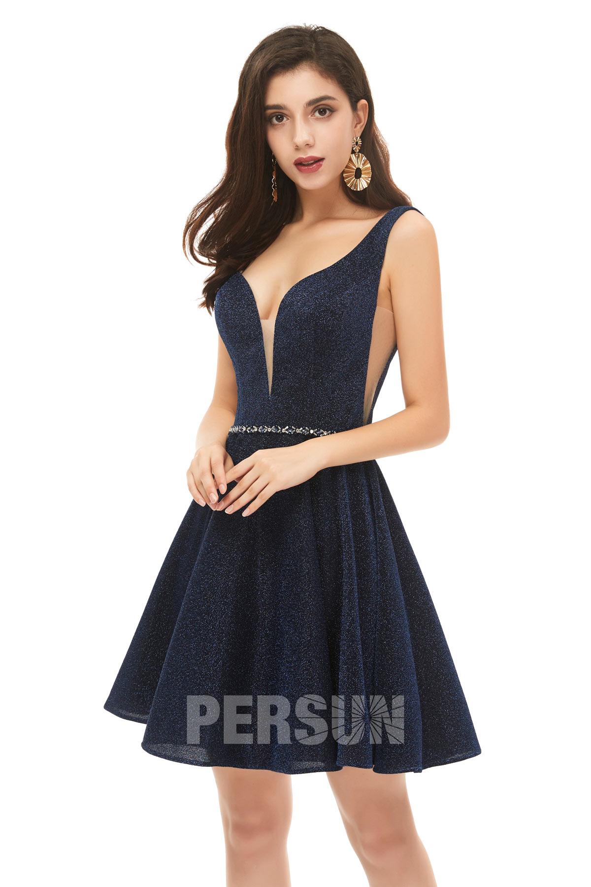 robe de cocktail sext bleu nuit décolleté v embelli de strass