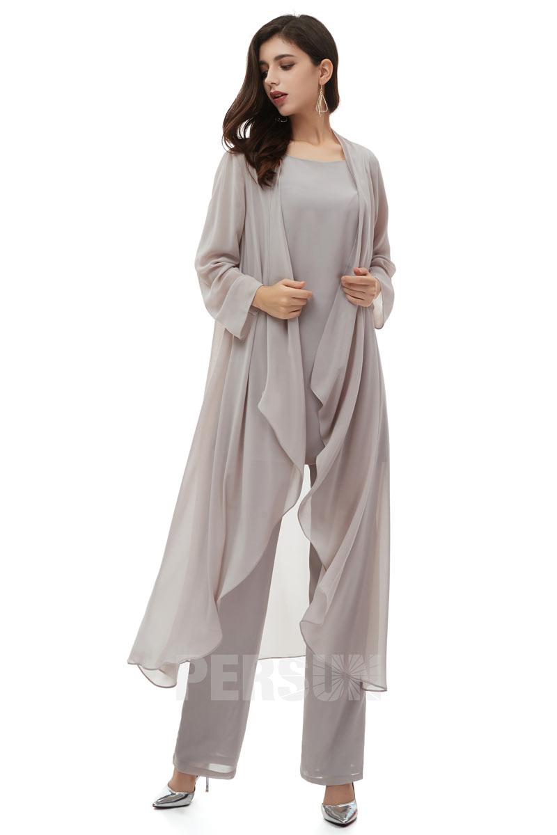 ensemble gris uni avec veste simple pour mère de mariée
