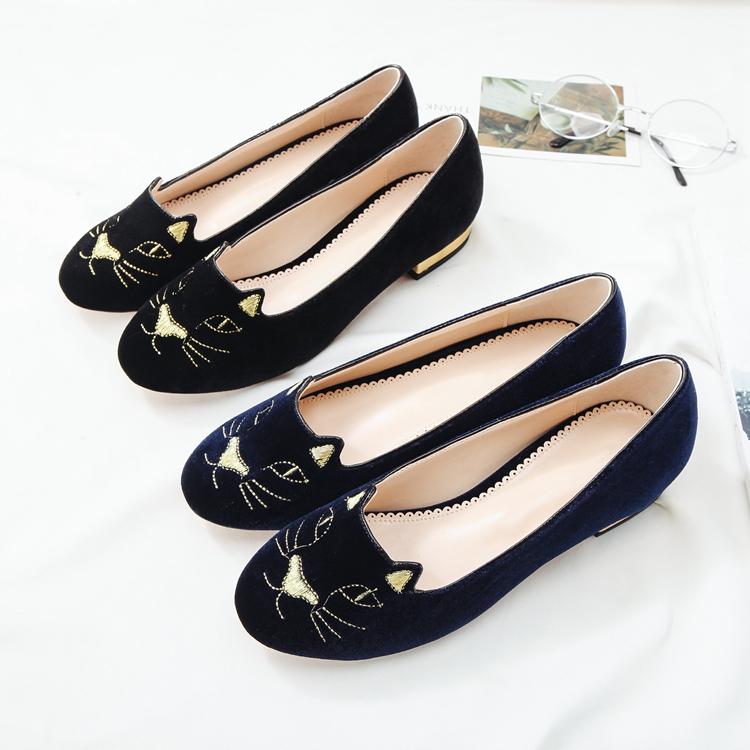 chaussures plats brodé de dessin visage de chat