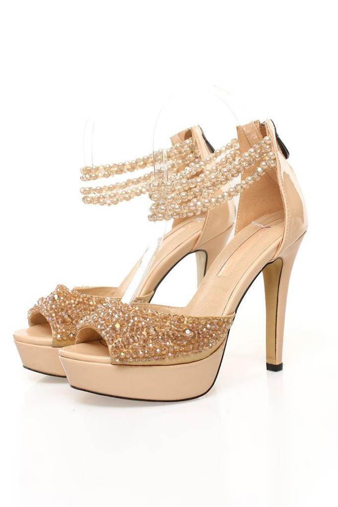 Chaussures de mariage cuir à bride talons hauts strass doré