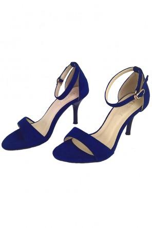Sandales à talons bleu roi suédé pour soirée mariage