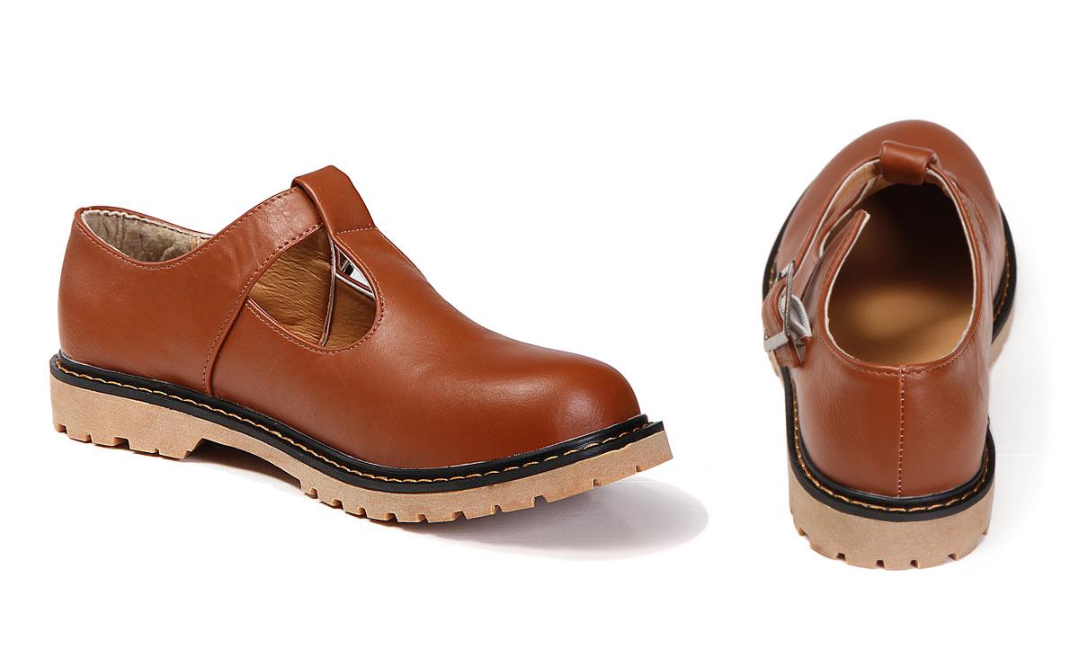 chaussures de ville ballerine marron vintage