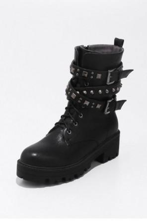 Bottines motardes noires à lacets plateforme avec rivets