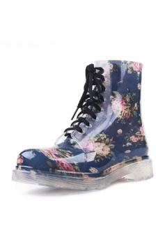 Bottines de pluie bleu à lacets fleuri caoutchouc