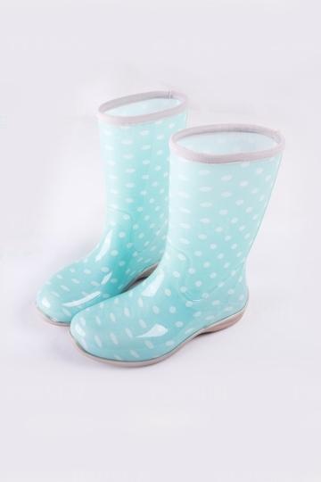 Bottines de pluie plates bleues imprimées à pois