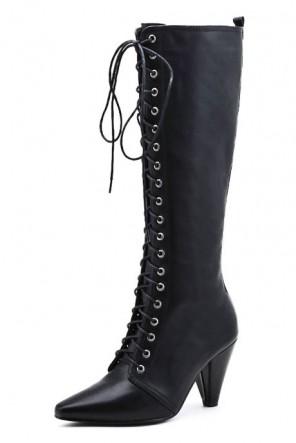 Bottes longues au dessous des genoux cuir noires à talons avec lacets