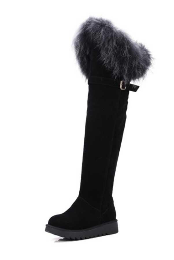Bottes noires à genoux fourrure cingulum plateforme