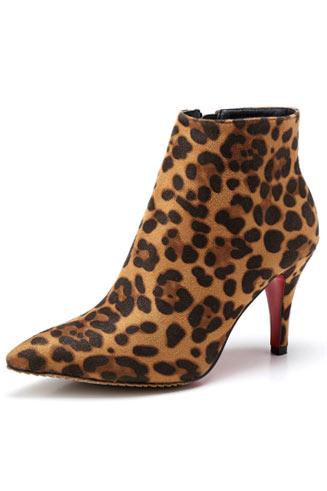 Bottines talons aiguille imprimées léopard