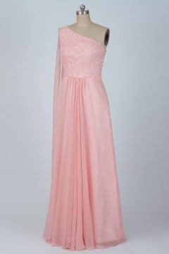 Solde robe de bal rose asymétrique taille 40