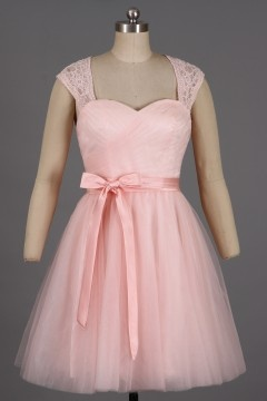 Robe de cocktail tulle rose poudré dos ouvert