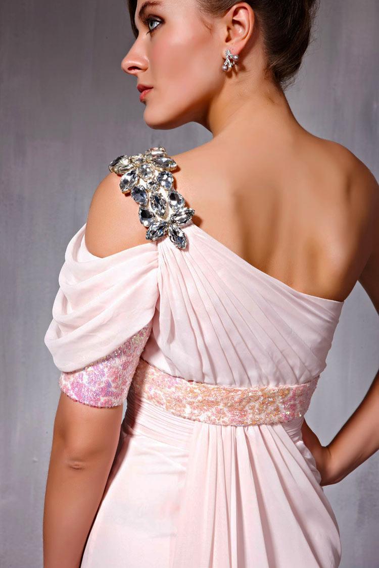 Robe soirée rose asymétrique à paillettes & manches ballons colonne