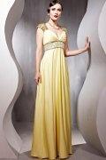 Beading V neck Imitated Silk Column Formal Evening Dress