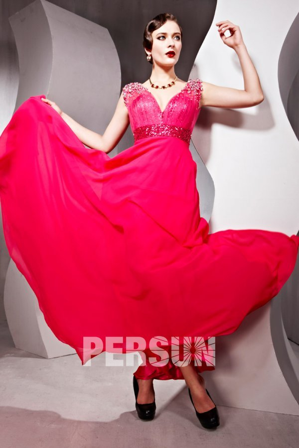robe rouge longue style empire