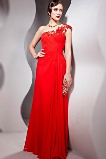 Elégante Robe de bal / soirée rouge asymétrique en mousseline