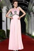 Etui Linie Rund Ausschnitt rosa Ballkleid / Abendkleid mit Perlen verziert
