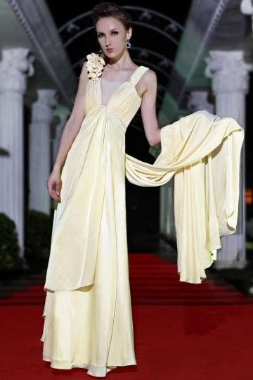 Robe de soirée jaune clair avec bretelles ornée de strass en mousseline de soie expédié en 24h