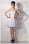 Lace Embroidery Flower Pleated Sweetheart Chiffon White A line Cocktail Dress