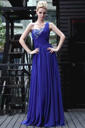 Robe de soirée bleu longue asymétrique ornée de strass