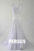 Robe de mariée sirène brodée col V traîne courte