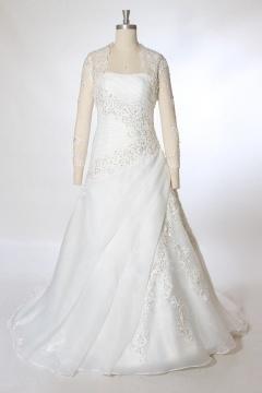 Robe mariage bustier en organza à traîne Chapelle