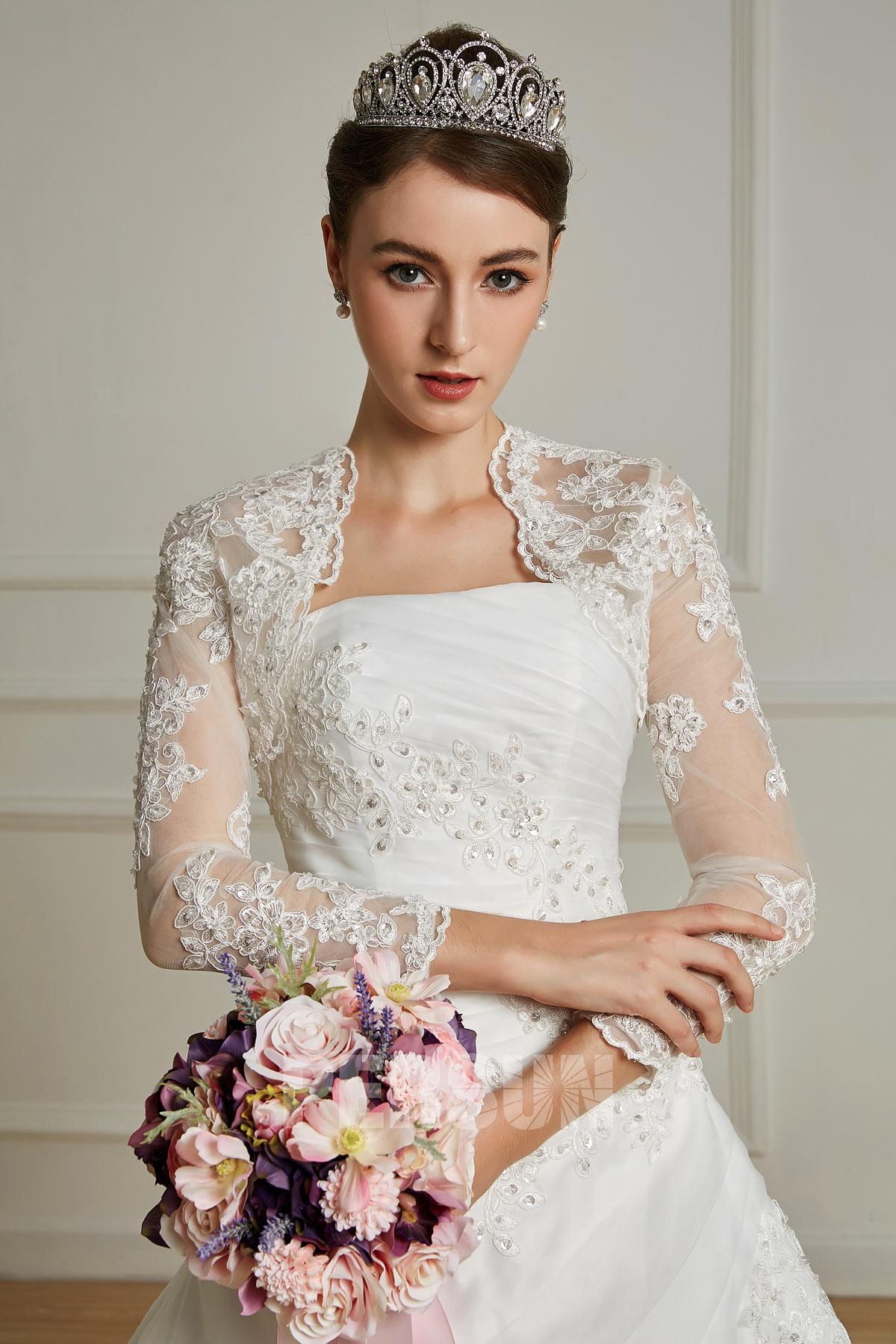 robe mariage bustier en organza avec boléro