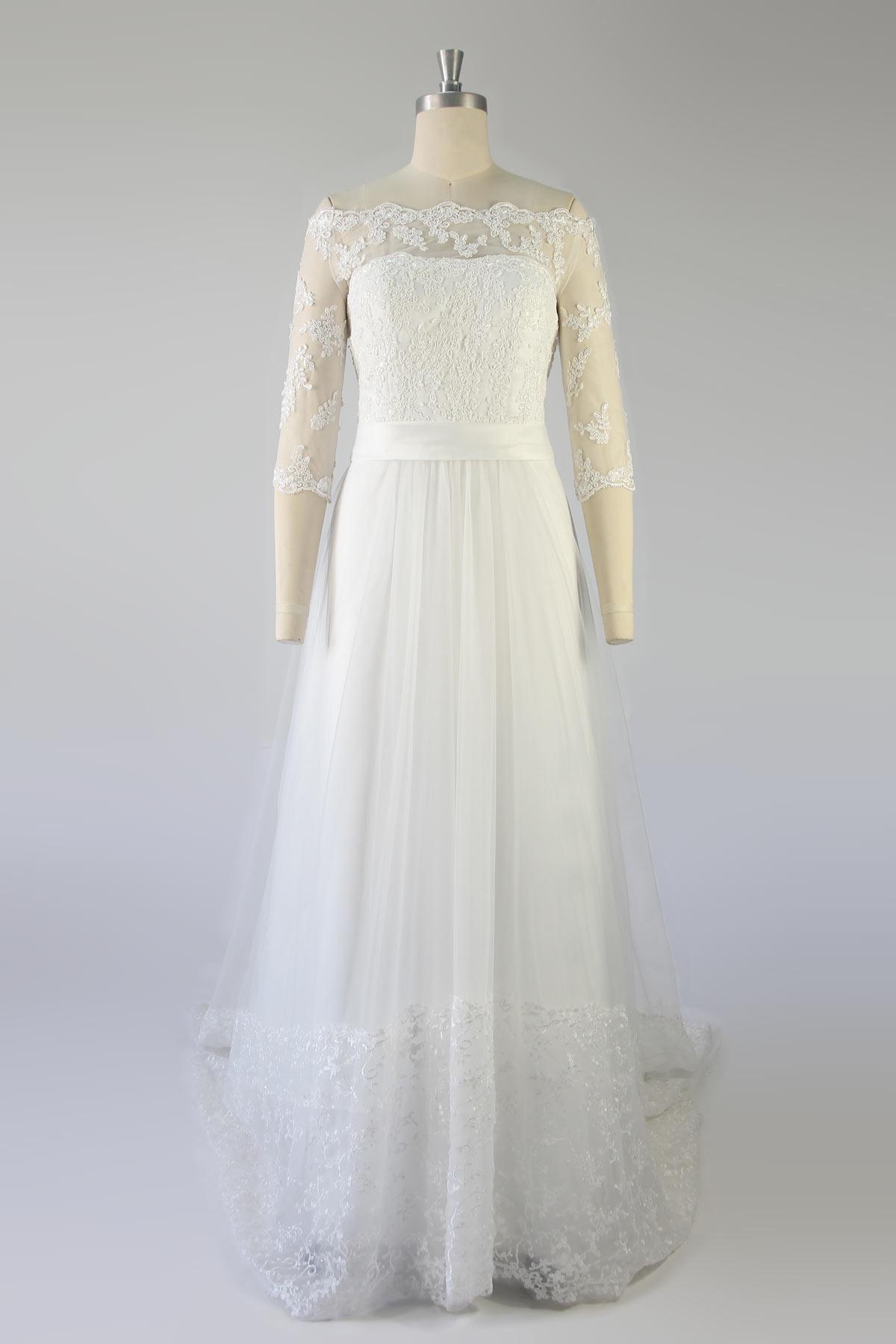 robe de mariée haut en dentelle appliquée épaule dénudée avec manche mi-longue