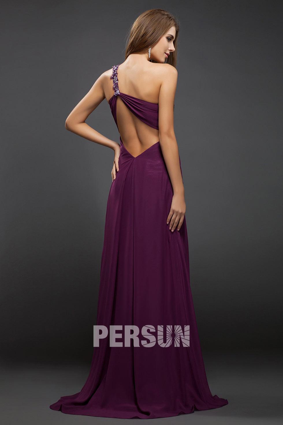 Robe de bal violette pour femme col asymétrique sexy fendue