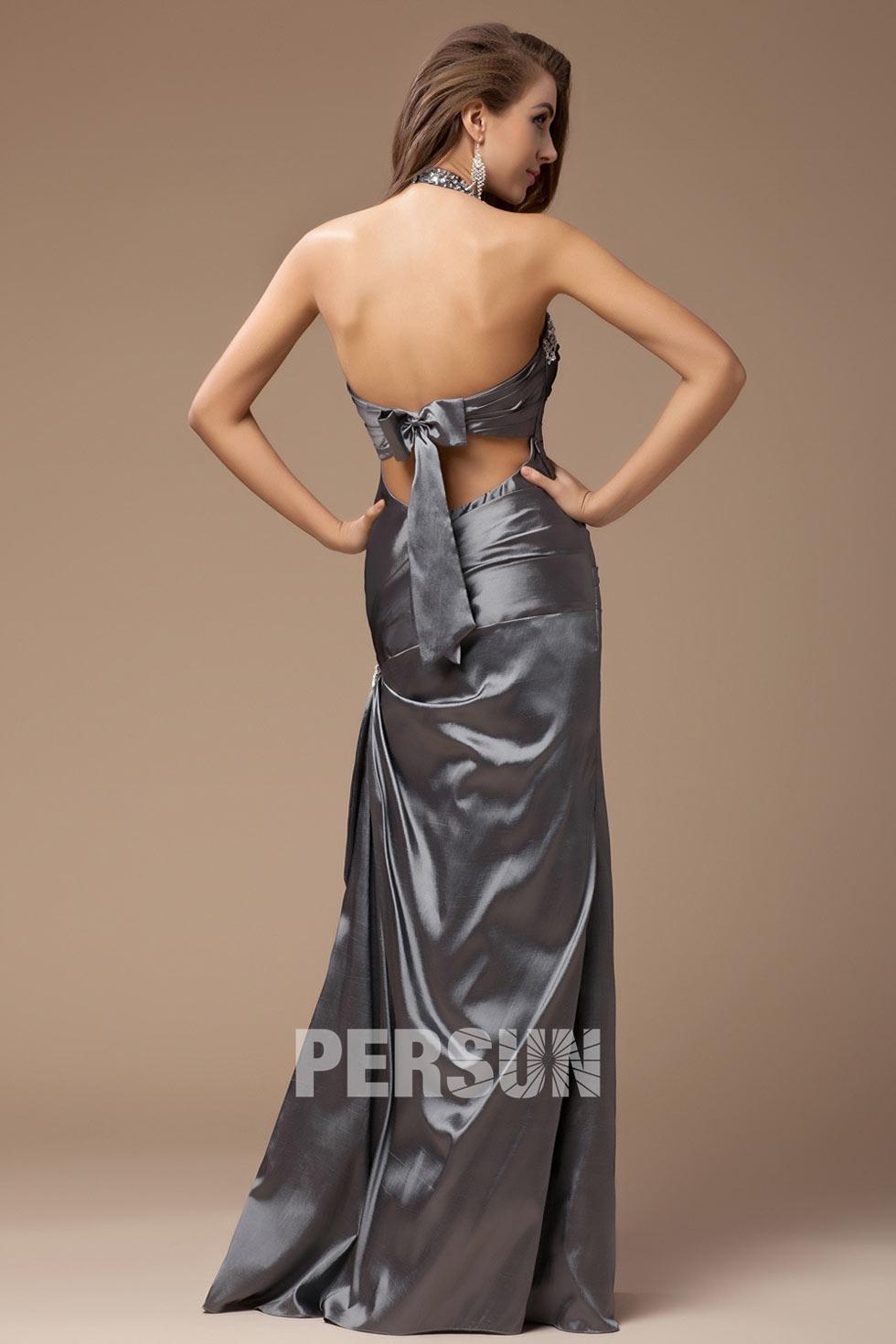 Robe habillée grise à dos nu