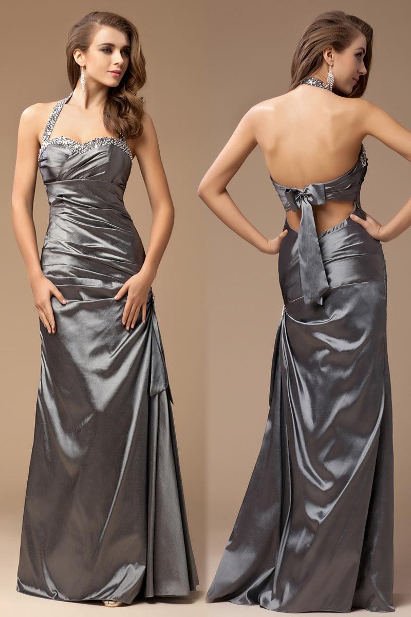 Robe grise habillée longueur sol à col américaine