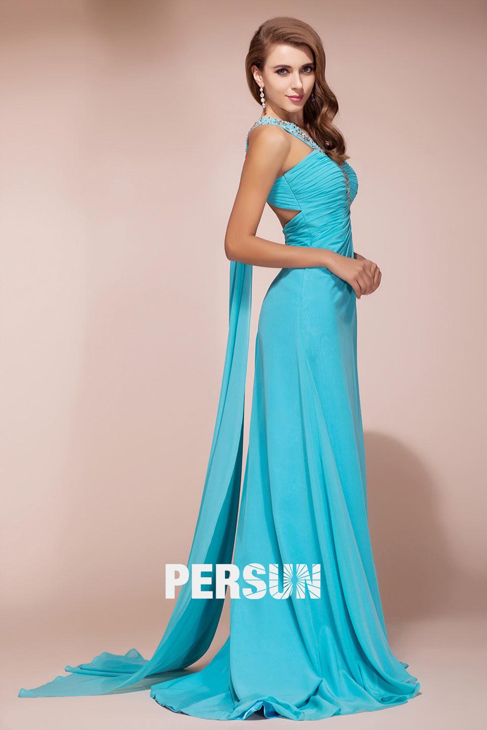Robe de soirée turquoise asymétrique avec ouverture frontale
