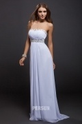 Beading Strapless Chiffon Open Back Ruching Evening Dress